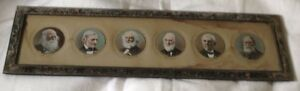Famous-6-Poets-Halftone-Litho-Old-Frame-Bryant-Emerson-Longfellow-Holmes-Lowell
