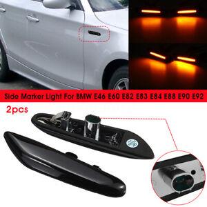2x-LED-Ambre-Clignotant-Repetiteur-D-039-aile-Noir-pour-BMW-E46-E60-E82-E88-E90-E92