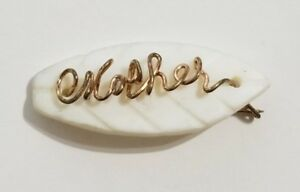 Vintage-Mother-of-Pearl-Gold-Filled-Wire-Script-Name-Pin-Brooch-034-Mother-034-MOP