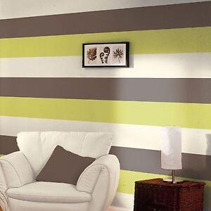 Rayure-Papier-Peint-Rouleaux-Chocolat-Citron-Creme-E40904-Neuf