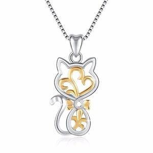 European-Cat-Dangle-Silver-Charms-Pendant-Women-039-s-Jewelry-Fit-Sterling-Necklace