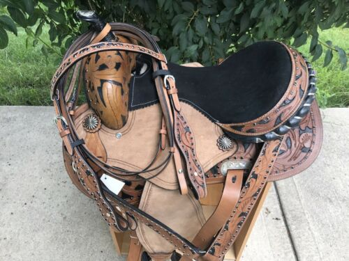 """14"""" Cutout Barrel Western Leather Saddle Youth Vintage Conho Show Rough Out 4pc"""