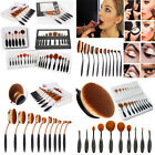 10PCS Pro Toothbrush Makeup Brush Eyebrow Oval Powder Cream Foundation Brush Set