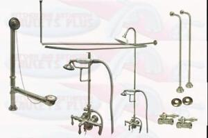 clawfoot tub supply lines. Image is loading Brushed Satin Nickel Clawfoot Tub Faucet With Drain  Water Supply