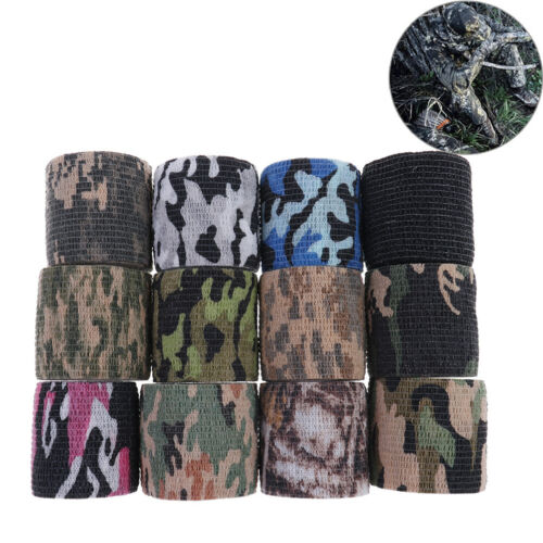 1Pc 5Cm X 4.5M Waterproof Hunting Camouflage Camouflage Stealth Tape Elasti JF
