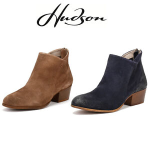Hudson Womens Apisi Ankle Boots Navy Blue Or Beige Suede Heels