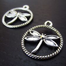 Dragonfly Antiqued Silver Plated Charm Pendants C2824-10 20 Or 50PCs