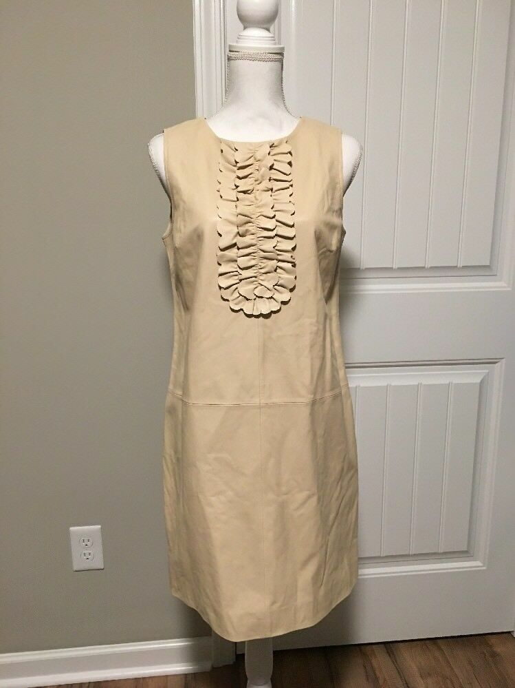 New J Crew Collection Leather Sheath Dress with Ruffles Vintage Sand Sz 8 F6270