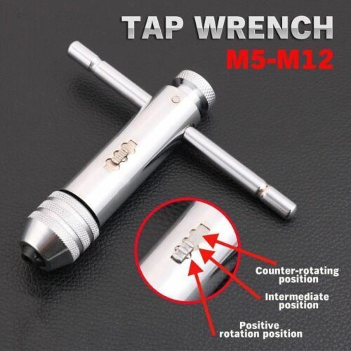 for Taps M5-M12 Ratchet Tap Wrench T Type Tapping Handle 4.6-8mm