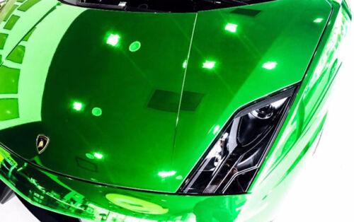 "120/"" x 60/"" Green Chrome Mirror Vinyl Film Wrap Sticker Stretchable 10ft x 5ft"