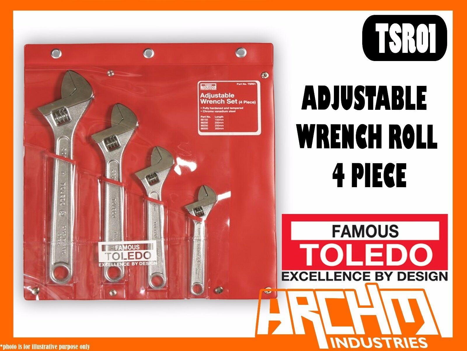 TOLEDO TSR01 - ADJUSTABLE WRENCH ROLL 4 PIECE SET 150 / 200 / 250 / 300MM