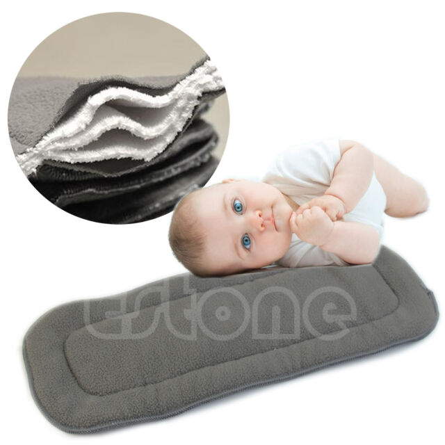 Lot Bamboo Fiber Charcoal Washable Cloth Insert Reusable 5 Layers Diaper Nappies
