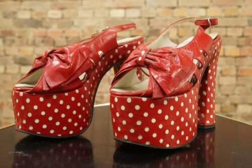 Vintage 70s Platforms Shoes Sandals Red White Polk