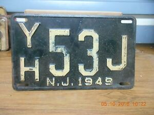 NEW-JERSEY-LICENSE-PLATE-034-YH53J-034-1949-1-PLATE-USED