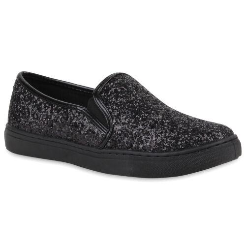Damen Sneakers Slipper Slip-ons Glitzer Metallic 78265 Schuhe