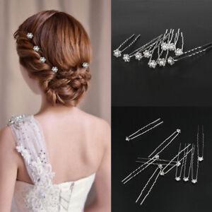 10PCS-Wedding-Crystal-Bridal-Hair-Pins-Flower-Pearl-Bridesmaid-Clips-Hairpin