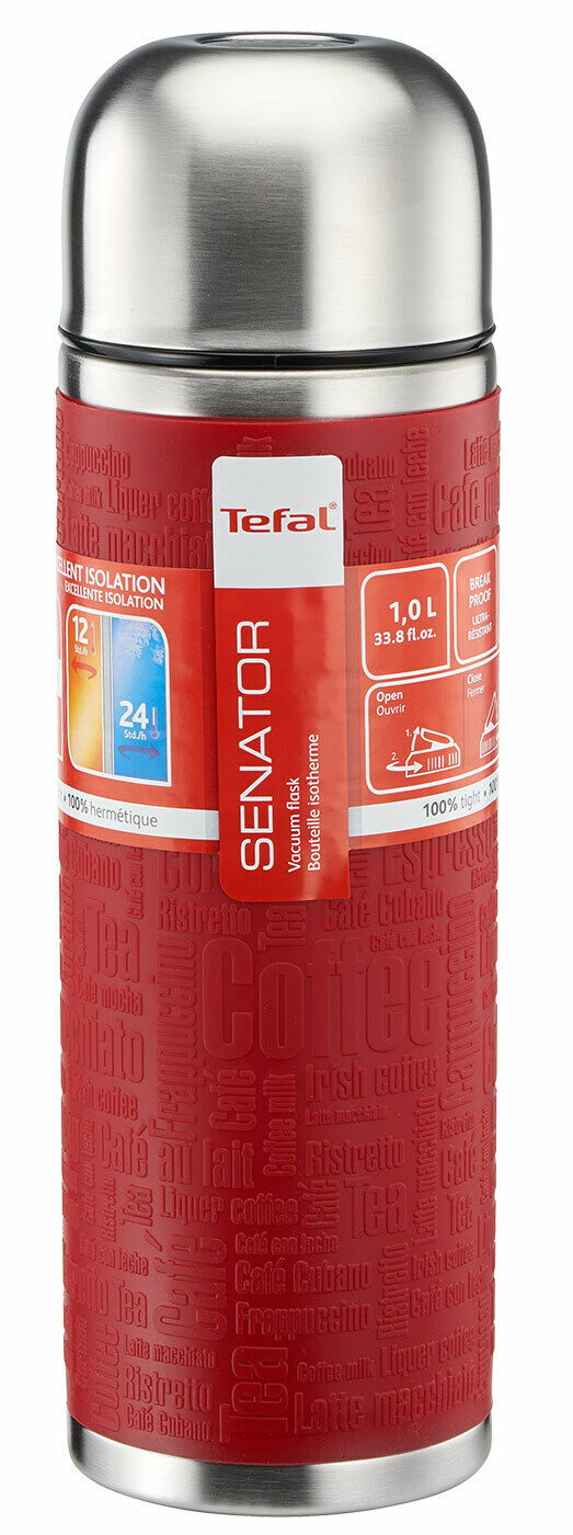 Tefal Senator Silicone Vacuum Flask, Stainless Steel, Red, 1 Litre