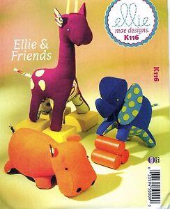NEW-Uncut-Kwik-Sew-Ellie-Mae-K116-Soft-Stuffed-Toys-Hippo-Elephant-Giraffe