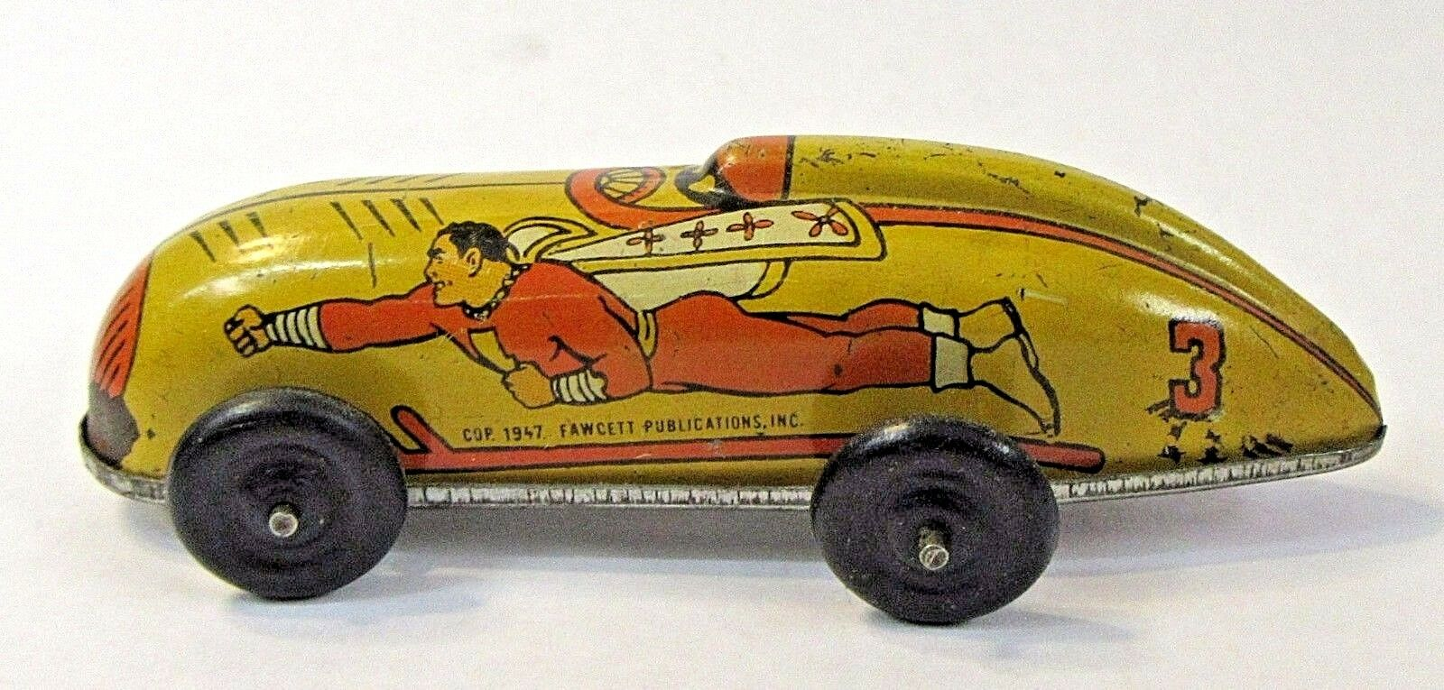 1947 CAPTAIN MARVEL amarillo  3 Fawcett Comics tin litho windup race car WORKS