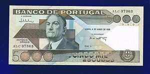 PORTUGAL-5000-ESCUDOS-1985-PORTUGAL-PIC-182D-UNCIRCULATED