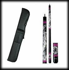 New Action ADV07 Pool Cue Stick - Black & Purple Unicorn 18 - 21 oz & Case
