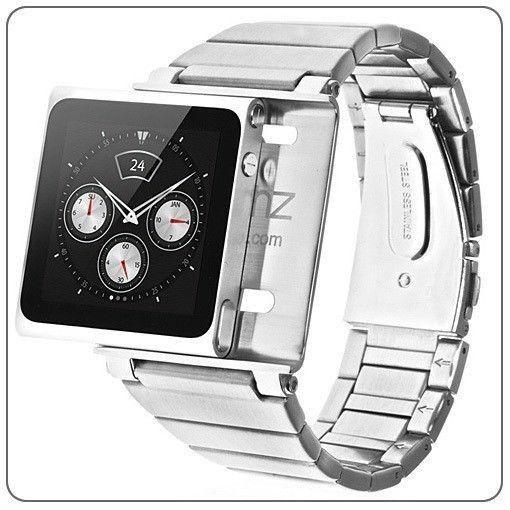 iWatchz Stainless Steel Bracelet Watch Band Wrist Strap for iPod nano 6 Case