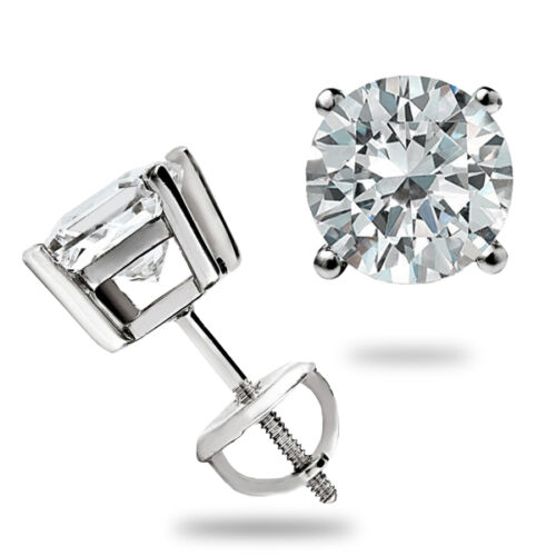 1.50 Ct Round cut Solitaire Stud Earrings Lab D Ideal Screw back 14k White Gold