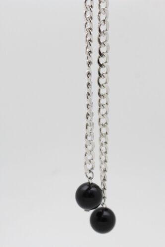 Women Black Beads Ball Tassel Dressy Fashion Belt Silver Metal Chain Plus XL XXL