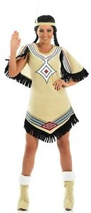 damen pocahontas indianer squaw kost m kleid outfit 8 26. Black Bedroom Furniture Sets. Home Design Ideas