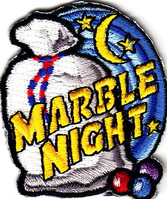 """""""MARBLE NIGHT"""" - Iron On Embroidered Patch- Hobby, Words, Games, Compete"""