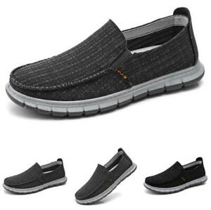 Mens-Pumps-Slip-on-Loafers-Soft-Comfy-43-Canvas-Pumps-Driving-Moccasins-Shoes-B