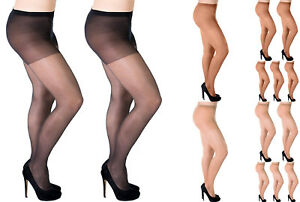 Aurellie-Women-Plus-Size-Sheer-20-Denier-Lycra-Tights-3-Colours-2-Packs-UK-16-22