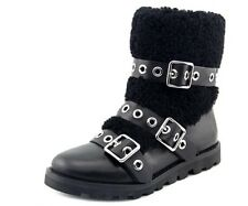 New $498 MARC BY MARC JACOBS FROST BLACK LEATHER BUCKLE BIKER SHEARLING BOOT 40