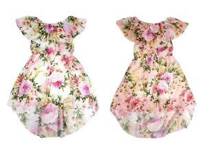 3b4017f9d1 Girls Kids High Low Floral Frill Bardot Chiffon Fishtail Off Shoulder Dress