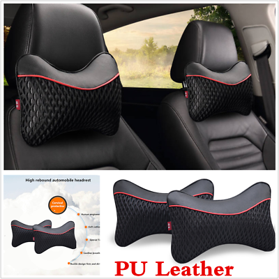 2 Pcs Four Seasons Breathable Leather+Ice Silk Car Headrest Cervical Neck Pillow