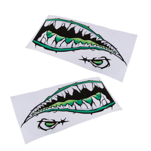 2Pcs Large 3D Shark Teeth Mouth Sticker Kayak Fishing Boat SUP Car Truck Decals