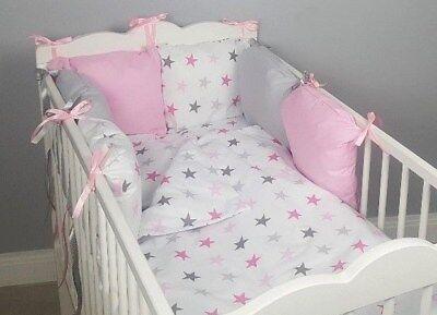 8 Pc Cot Cot Bed Bedding Sets Pillow Bumper Cases Pink Stars Grey Duvet Cover Ebay