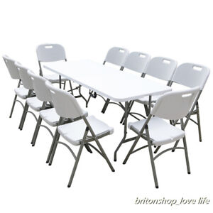 Image Is Loading Heavy Duty Folding Portable Trestle Table Chairs Picnic