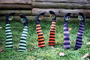 Halloween-Decor-Witch-Legs-Yard-Stakes-Orange-Green-Purple-Fall-Festive-Classic