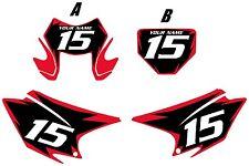2015-2017 HONDA CRF230F Custom PrePrinted Black Backgrounds Red Shock Series