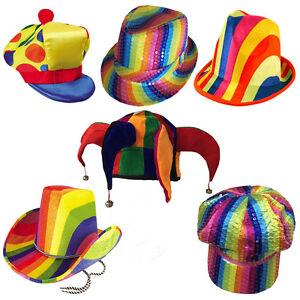 Unisex Carnival Adult Rainbow Cowboy Hat Womens Fancy Dress Hallowen ... e98ab07485bb