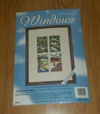 "Counted Cross Stitch Kit Windows OLD OAK TREE Framed 9"" x 12"" USA JCA Inc. 08029"