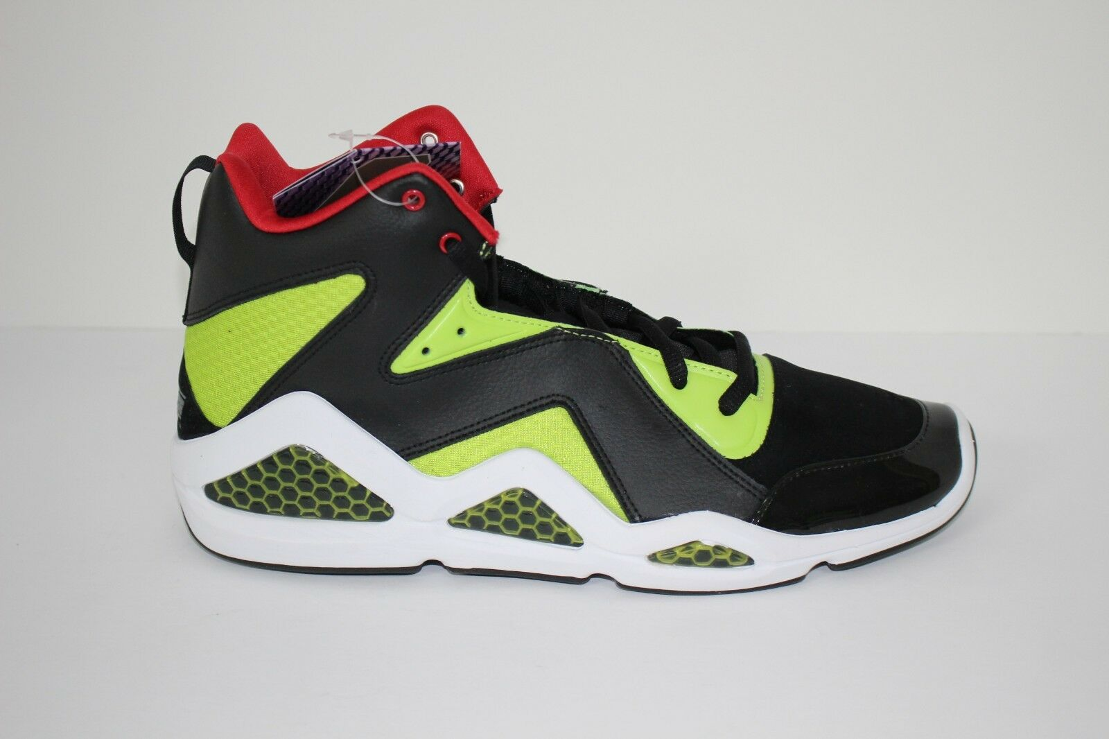 Reebok Kamikaze III Mid NC Mens Basketball shoes J83098 Blk Sonic Green Ex Red