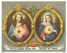 """Catholic Print Picture JESUS & MARY Sacred Hearts 8x10"""" from Germany LOVELY!"""