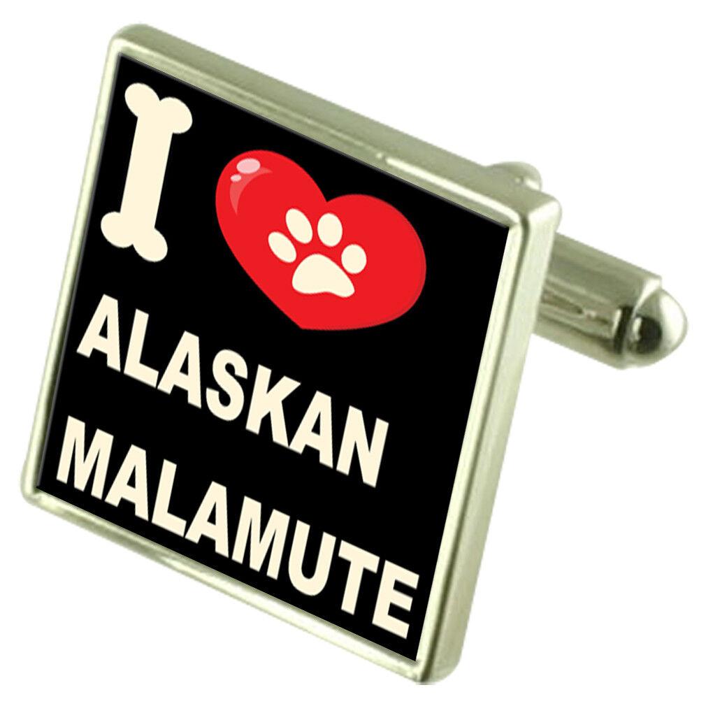 argentoo 925 Gemelli & Bond Fermasoldi - i Love Love Love Alaskan Malamute 51b505