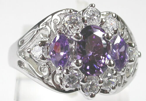 Ring with Clear & Lilac Cubic Zirconia in Sterling Silver 925 size 8 Jewelry