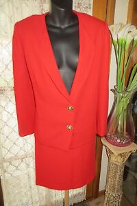 VINTAGE-Classic-Red-SKIRT-SUIT-SET-Size-14