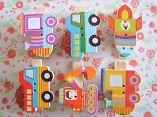 Tractor Rocket Train Wooden Pegs Card Holder Craft Decor -Pack of 6 Designs- UK