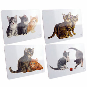 Adorable-Chaton-Mignon-Liege-Soutenu-Lamine-Set-de-Table-Quatre-Dutch-Chat-Artis