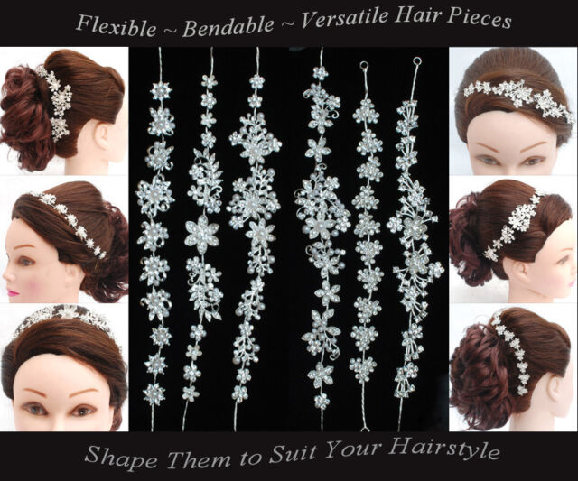 BRIDAL HEADBAND WEDDING HAIR COMB DIAMANTE CRYSTAL PEARL VINTAGE SLIDE TIARA